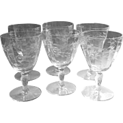 Vintage Crystal Water Goblets Set 6 Glasses Floral Cut Wide