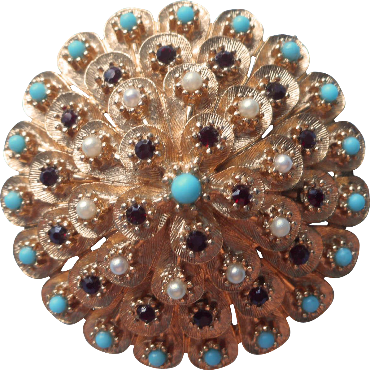 Vintage Brooch Pin Faux Tuquoise Faux Seed Pearls Faux Ruby