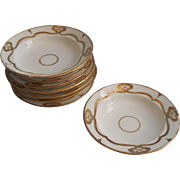 Antique Sauce Dishes Bowls Gold White Victorian China Set 8