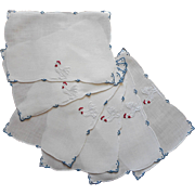 Cocktail Napkins Vintage Madeira Linen Classic Rooster Hand Embroidery