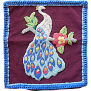 Vintage Chenille Work Stumpwork Pillow Cover Peacock