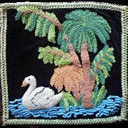 Vintage Stumpwork Chenille Work Pillow Cover Swan Velvet Ribbon