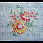 Vintage Tablecloth Vintage Kitchen Blue Red White Yellow TLC