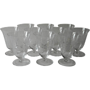Vintage Crystal Juice Glasses Tumblers Footed Floral Cut Decoration Set 10