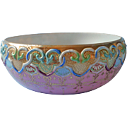 Antique Moriage Decorated China Bowl Pink Gold Nippon Era Multicolor Decoration