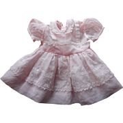 1950s Pink Organdy Tiny Town Togs Baby Toddler Dress Lace Embroidery 2