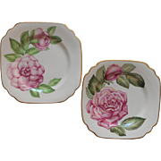 Rose Camellia Syracuse China Square Dessert Plates Vintage Pink Flower Series