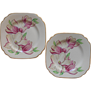 Magnolia Syracuse China Square Dessert Plates Vintage Pink Flower Series