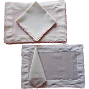 Madeira Pink Cream Organdy Linen Placemats Napkins Set Vintage Hand Embroidered
