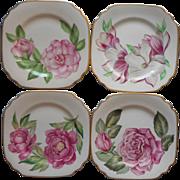 Rose Camellia Magnolia Peony Syracuse China Square Dessert Plates Vintage