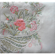 Madeira Organdy Tablecloth Carnations Hand Embroidery 124 x 67 Inches