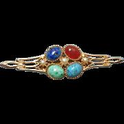 Vintage Pin Edwardian Revival Faux Lapis Turquoise Carnelian Aventurine Glass Cabochons