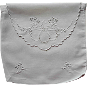 Hankie Pouch Antique 1910s Cutwork Hand Embroidery Linen