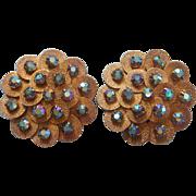 Big Vintage Earrings Blue AB Rhinestones Clip Oversized Petals Discs