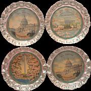 Vintage Coasters Washington D.C. Pink Cherry Blossoms Scenes Glass