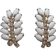 Vintage Earrings Milk Glass Rhinestones Clip Long Leaf Form White