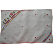 1930s Tray Cloth Linen Hand Embroidery Tiny Bright Cross Stitching European