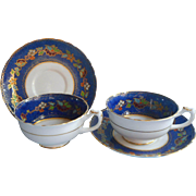 1920s English Cobalt Blue Hand Painted Enameled Cups Saucers Vintage Tuscan