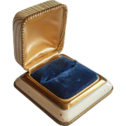 1930s Ring Box Jeweler's Art Deco Period Velvet Metal Faux Embossed Leather