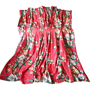 1940s Taffeta Curtains Vintage 88 Inches Brick Coral Red Floral