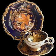 Echt Kobalt Cobalt Blue Gold Schumann Cup Saucer Plate Trio Vintage China
