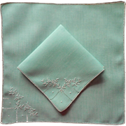 Aqua Tea Napkins 2 Vintage Linen Hand Embroidered Unused
