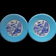 1960s Pair Plates Vintage Turquoise Textured Rim Cobalt Blue Scenic Center