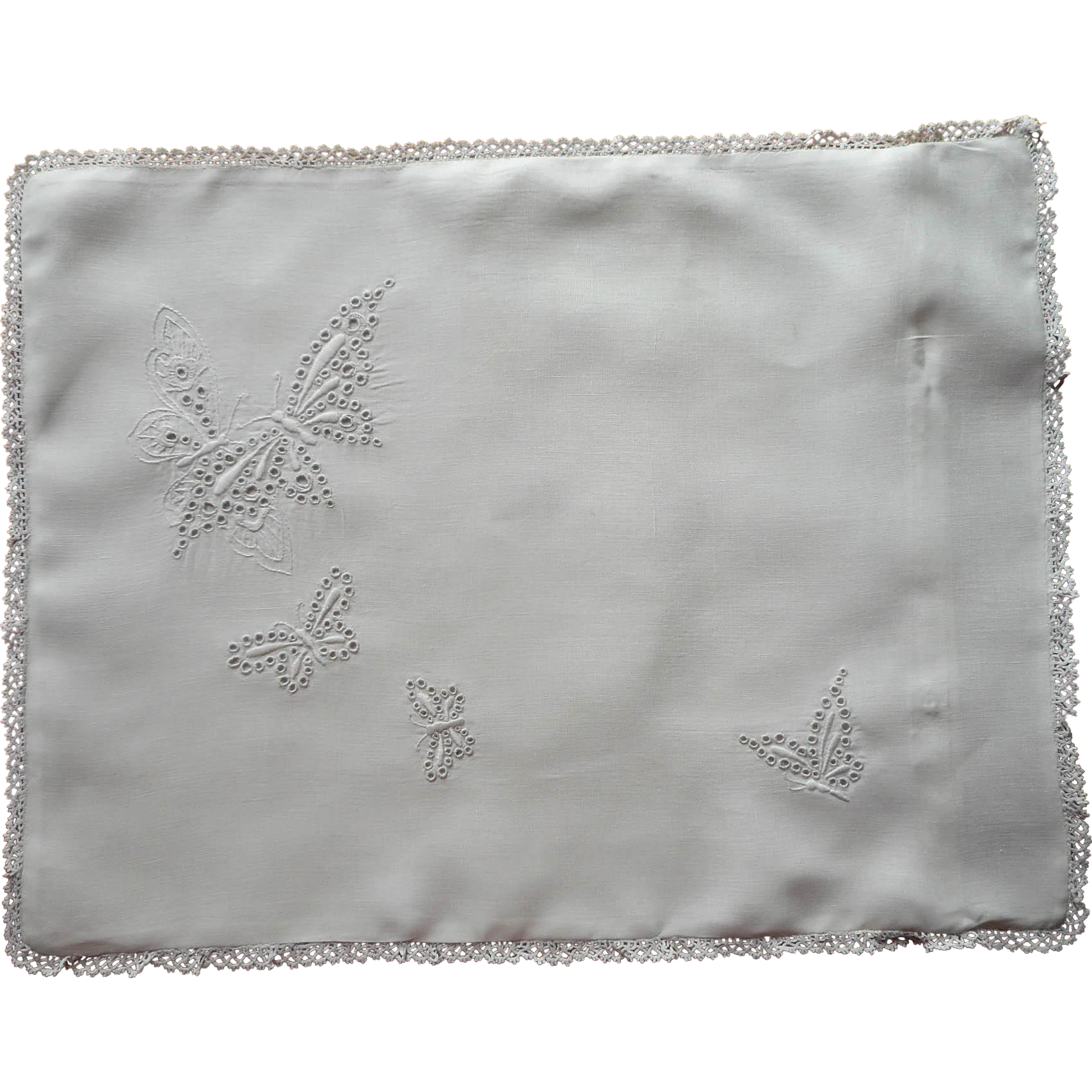 Antique Pillow Sham Baby Boudoir Cutwork Butterflies Hand Embroidery