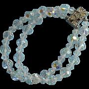 Vintage Bracelet AB Cut Crystal Beads 2 Strands Rhinestone Clasp