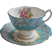 Royal Albert Enchantment Vintage Cup Saucer Turquoise Aqua Blue English Bone China