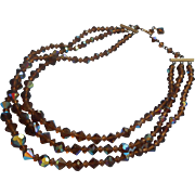 Vintage Cut Crystal AB Brown Beads Necklace 3 Strand