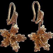 Orchids Filigree Earrings Vintage Pierced Dangle Drop Flowers