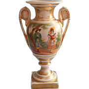 Old Paris Urn Form Vase Antique Senic And Man Woman Regional Costume