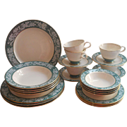 Set Homer Laughlin China Teal Green Vintage Oak Leaves Acorns Service For 4