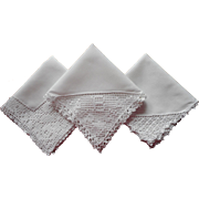 Monogram B 3 Vintage Hankies Filet Crocheted Lace Cotton