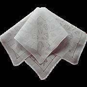 Vintage Hankie Fine Linen Pulled Thread Work Hemstitched Lines