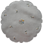 Madeira Doily Vintage 1950s Pastel Flowers Hand Embroidery