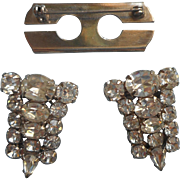 Duette Dress Clips Converts To Pin Brooch Vintage Chunky Rhinestones