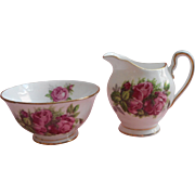 Tuscan Moss Rose English Bone China Individual Size Creamer Open Sugar Bowl