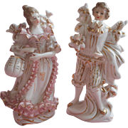 Vintage Pink Gold White China Figurines Pair Lord Lady Sweet And A Bit TLC