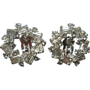 Excellent Vintage Rhinestone Rarrings Unusual Circle Of Baguettes Clip