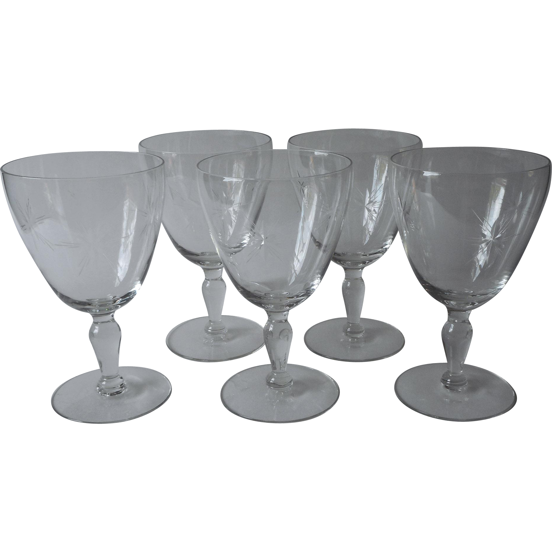 Crystal Water Goblets Vintage Wide Fine Simple Cut Star Burst Set 5