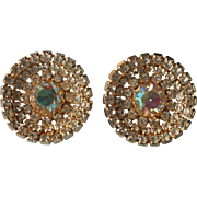 Vintage Earrings Big AB Crystal Rhinestones Gold Tone Metal Clip