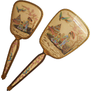 Chinoiserie Hand Mirror Hairbrush Set Vintage 1940s Vanity Ornate Ormolu
