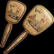 Chinoiserie Hand Mirror Hairbrush Set Vintage 1940s Vanity Ornate Ormolu