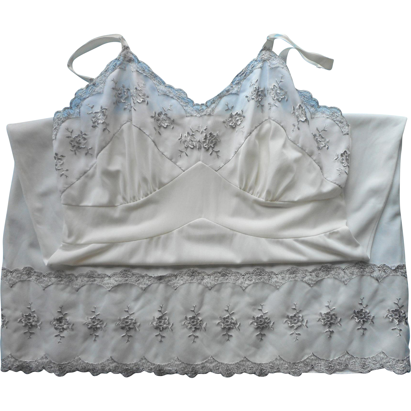 Vintage Full  Slip Size 40 White With Gray Embroidery Aristocraft