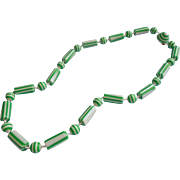 1960s Mod Japan Plastic Beads Necklace Striped Green White
