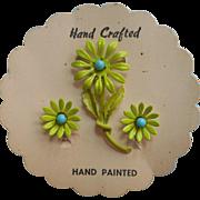 1960s Pin Earrings Set Vintage Painted Metal Green Blue Original Card