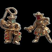 Cowgirl Cowboy Vintage Pair Scatter Pins