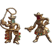 Cowgirl Cowboy Vintage Pair Scatter Pins
